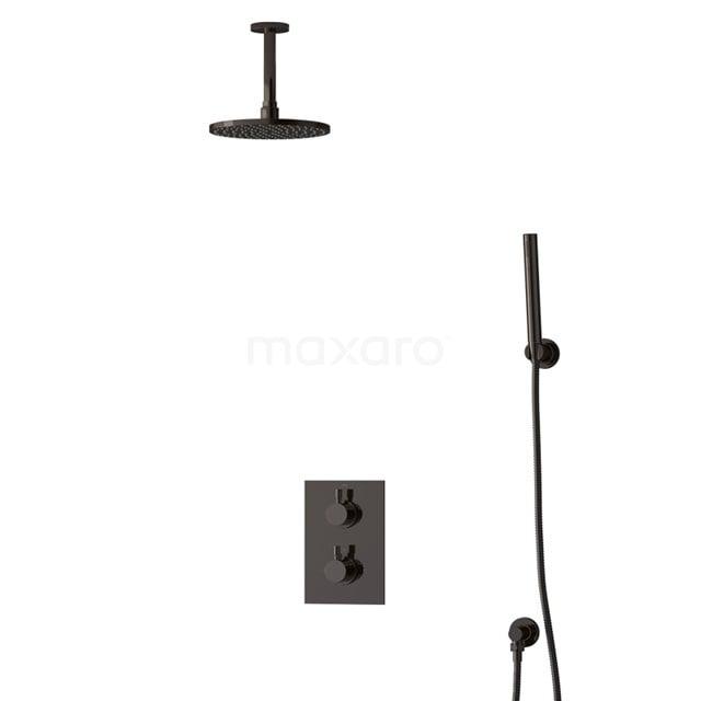 Inbouw Regendoucheset Radius Black Chrome, Thermostaatkraan, 20cm Hoofddouche, Zwart Chroom BIB55-00083