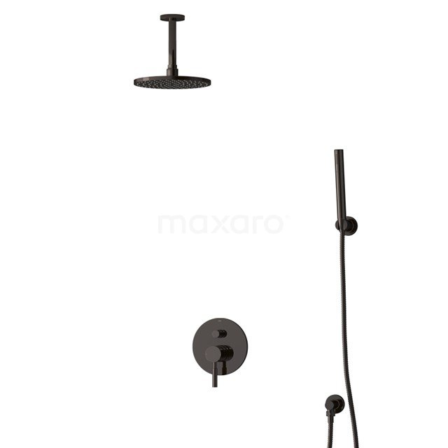 Inbouw Regendoucheset Radius Black Chrome, Eéngreeps Mengkraan, 20cm Hoofddouche, Zwart Chroom BIB55-00084