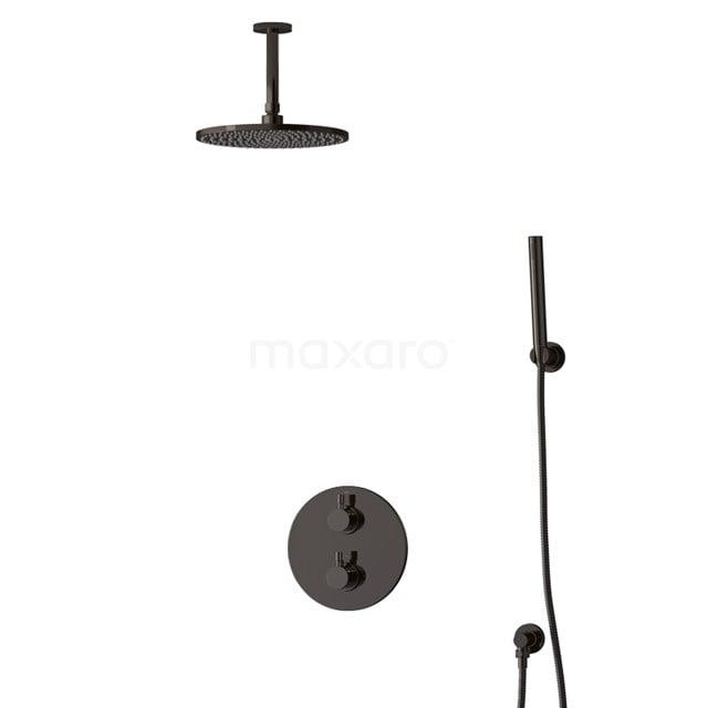 Inbouw Regendoucheset Radius Black Chrome, Thermostaatkraan, 25cm Hoofddouche, Zwart Chroom BIB55-00085