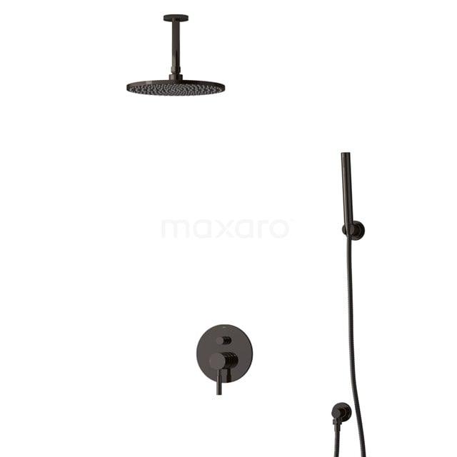 Inbouw Regendoucheset Radius Black Chrome, Eéngreeps Mengkraan, 25cm Hoofddouche, Zwart Chroom BIB55-00087