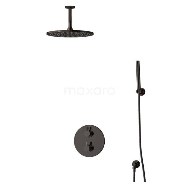 Inbouw Regendoucheset Radius Black Chrome, Thermostaatkraan, 30cm Hoofddouche, Zwart Chroom BIB55-00088