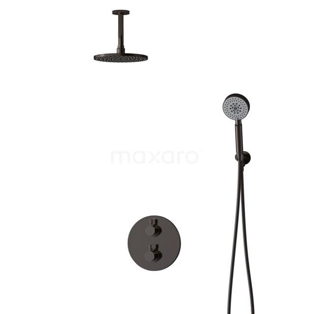 Inbouw Regendoucheset Radius Black Chrome, Thermostaatkraan, 20cm Hoofddouche, Zwart Chroom BIB55-00118