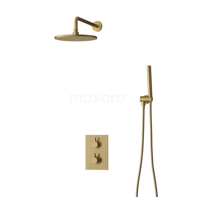 Inbouw Regendoucheset Radius Gold, Thermostaatkraan, 25cm Hoofddouche, Goud BIG55-00007