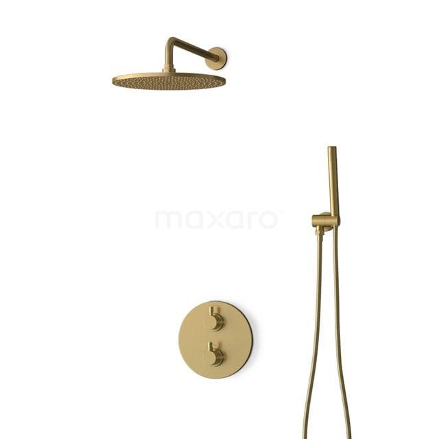 Inbouw Regendoucheset Radius Gold, Thermostaatkraan, 30cm Hoofddouche, Goud BIG55-00009