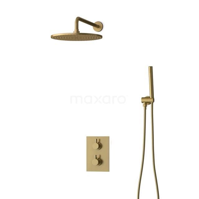 Inbouw Regendoucheset Radius Gold, Thermostaatkraan, 30cm Hoofddouche, Goud BIG55-00010