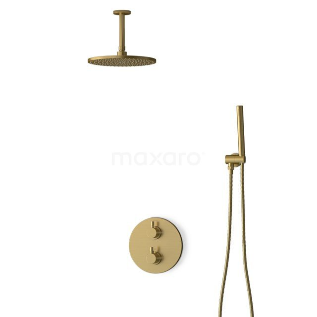 Inbouw Regendoucheset Radius Gold, Thermostaatkraan, 25cm Hoofddouche, Goud BIG55-00015