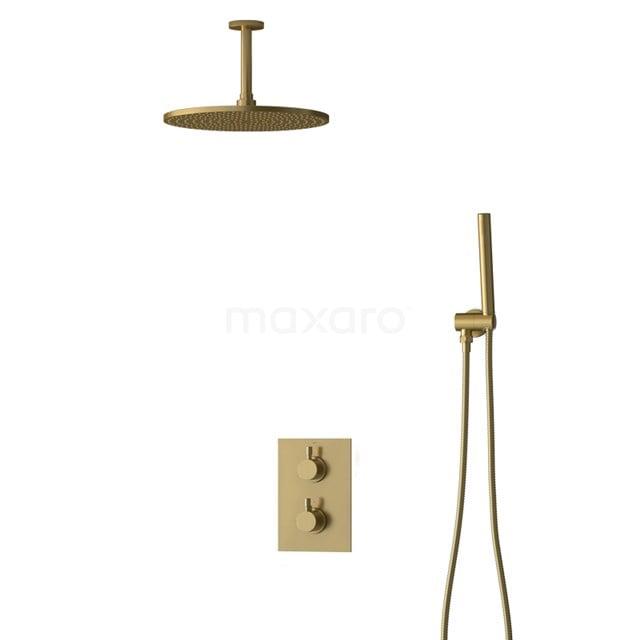 Inbouw Regendoucheset Radius Gold, Thermostaatkraan, 30cm Hoofddouche, Goud BIG55-00019