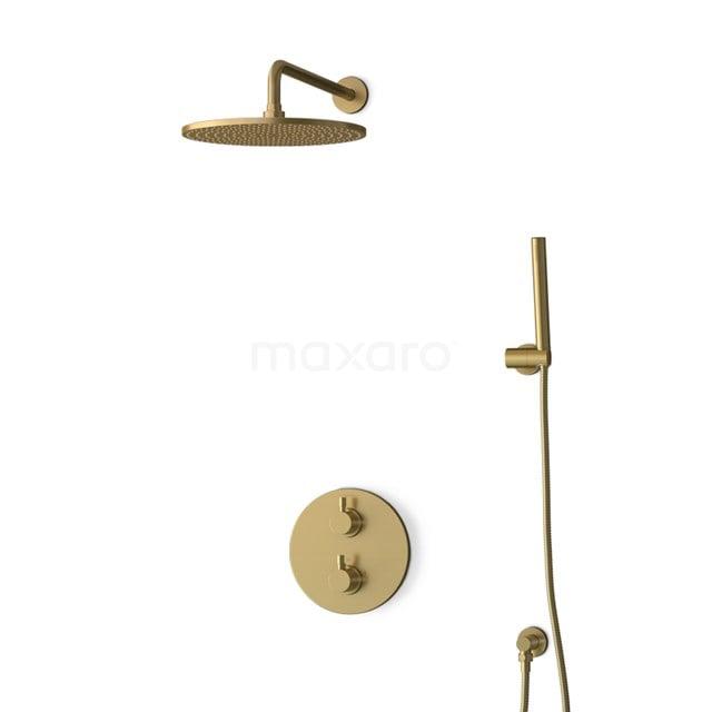 Inbouw Regendoucheset Radius Gold, Thermostaatkraan, 30cm Hoofddouche, Goud BIG55-00025