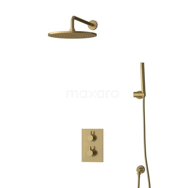 Inbouw Regendoucheset Radius Gold, Thermostaatkraan, 30cm Hoofddouche, Goud BIG55-00026