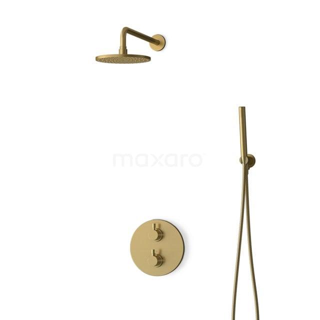 Inbouw Regendoucheset Radius Gold, Thermostaatkraan, 20cm Hoofddouche, Goud BIG55-00037