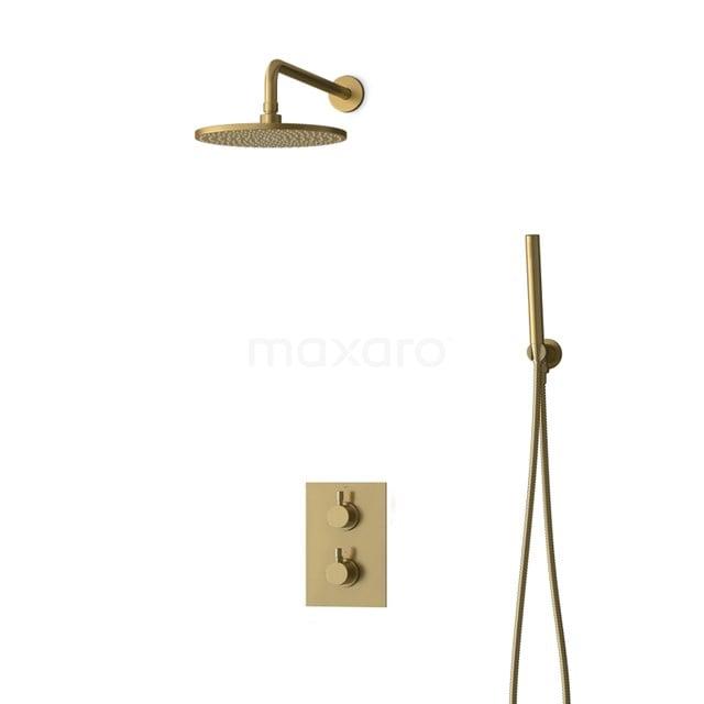 Inbouw Regendoucheset Radius Gold, Thermostaatkraan, 25cm Hoofddouche, Goud BIG55-00041