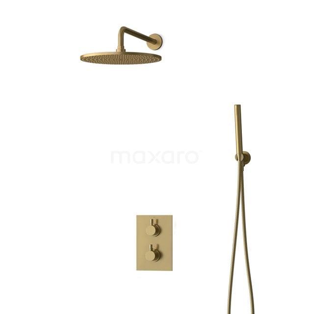 Inbouw Regendoucheset Radius Gold, Thermostaatkraan, 30cm Hoofddouche, Goud BIG55-00044
