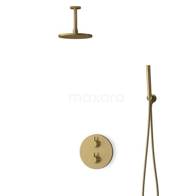 Inbouw Regendoucheset Radius Gold, Thermostaatkraan, 20cm Hoofddouche, Goud BIG55-00046