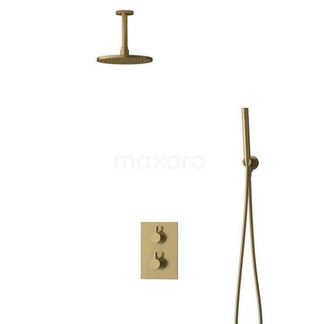 Inbouw Regendoucheset Radius Gold, Thermostaatkraan, 20cm Hoofddouche, Goud BIG55-00047