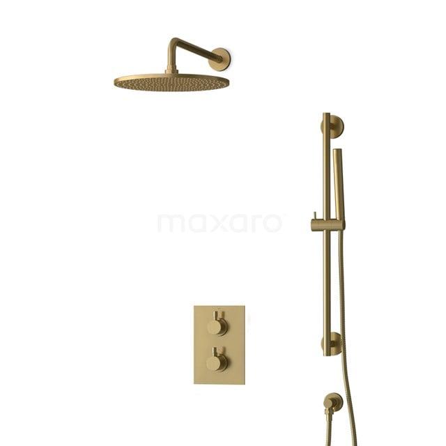 Inbouw Regendoucheset Radius Gold, Thermostaatkraan, 30cm Hoofddouche, Goud BIG55-00062