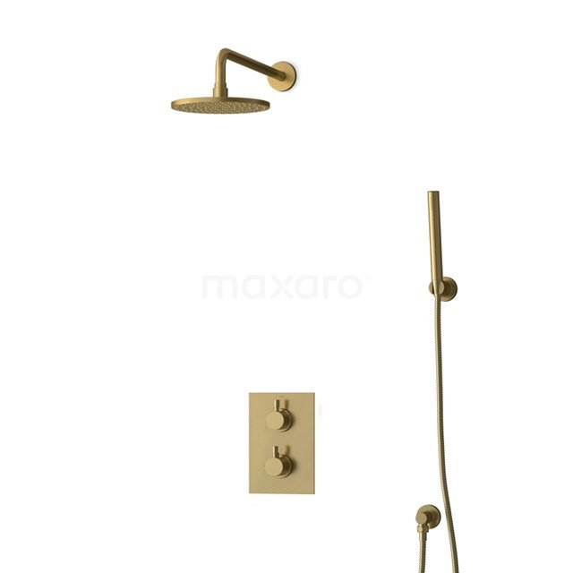 Inbouw Regendoucheset Radius Gold, Thermostaatkraan, 20cm Hoofddouche, Goud BIG55-00074