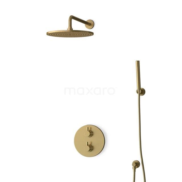 Inbouw Regendoucheset Radius Gold, Thermostaatkraan, 30cm Hoofddouche, Goud BIG55-00079