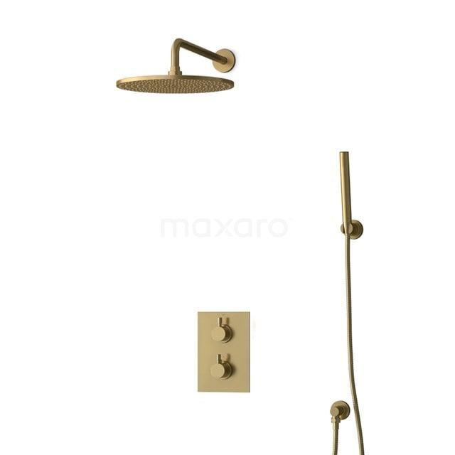 Inbouw Regendoucheset Radius Gold, Thermostaatkraan, 30cm Hoofddouche, Goud BIG55-00080