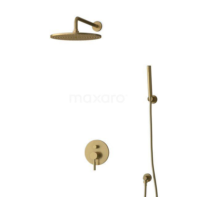 Inbouw Regendoucheset Radius Gold, Eéngreeps Mengkraan, 30cm Hoofddouche, Goud BIG55-00081