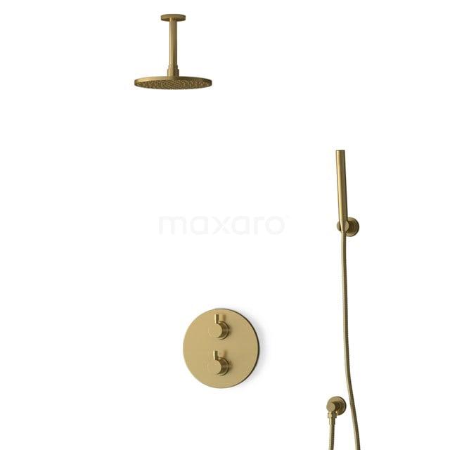 Inbouw Regendoucheset Radius Gold, Thermostaatkraan, 20cm Hoofddouche, Goud BIG55-00082