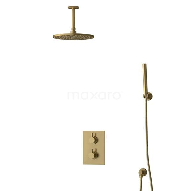 Inbouw Regendoucheset Radius Gold, Thermostaatkraan, 25cm Hoofddouche, Goud BIG55-00086