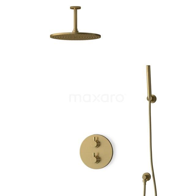 Inbouw Regendoucheset Radius Gold, Thermostaatkraan, 30cm Hoofddouche, Goud BIG55-00088
