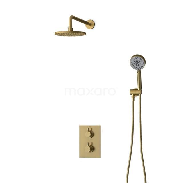 Inbouw Regendoucheset Radius Gold, Thermostaatkraan, 20cm Hoofddouche, Goud BIG55-00092