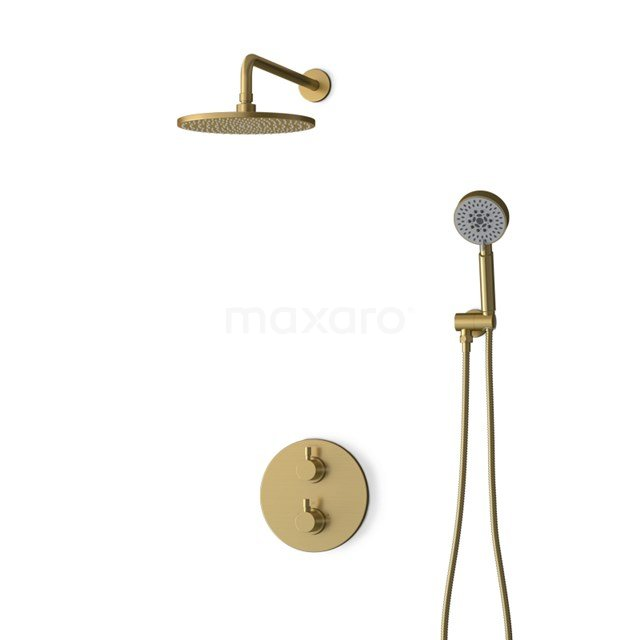 Inbouw Regendoucheset Radius Gold, Thermostaatkraan, 25cm Hoofddouche, Goud BIG55-00094