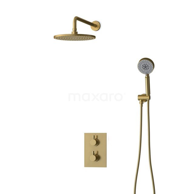 Inbouw Regendoucheset Radius Gold, Thermostaatkraan, 25cm Hoofddouche, Goud BIG55-00095