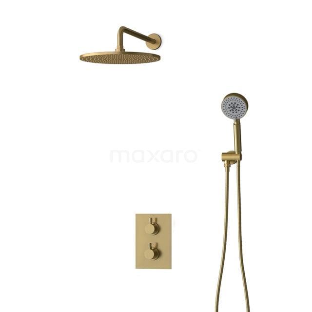 Inbouw Regendoucheset Radius Gold, Thermostaatkraan, 30cm Hoofddouche, Goud BIG55-00098