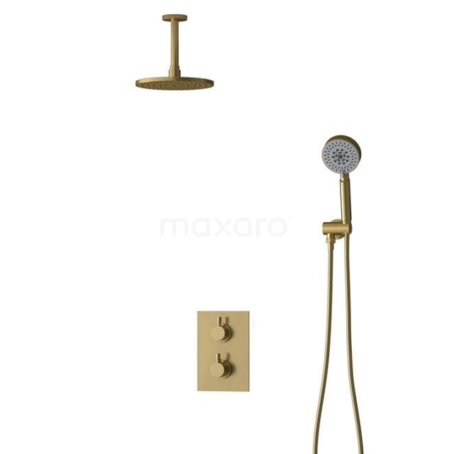 Inbouw Regendoucheset Radius Gold, Thermostaatkraan, 20cm Hoofddouche, Goud BIG55-00101