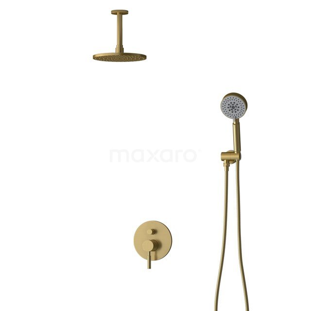 Inbouw Regendoucheset Radius Gold, Eéngreeps Mengkraan, 20cm Hoofddouche, Goud BIG55-00102