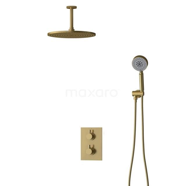 Inbouw Regendoucheset Radius Gold, Thermostaatkraan, 30cm Hoofddouche, Goud BIG55-00107