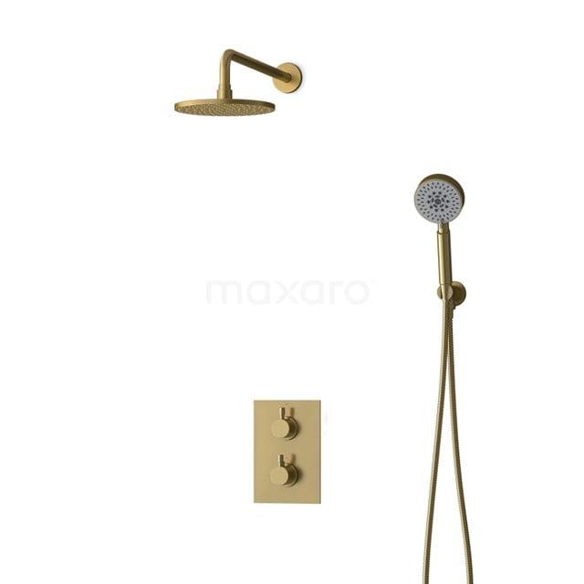 Inbouw Regendoucheset Radius Gold, Thermostaatkraan, 20cm Hoofddouche, Goud BIG55-00110