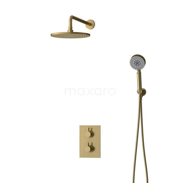 Inbouw Regendoucheset Radius Gold, Thermostaatkraan, 25cm Hoofddouche, Goud BIG55-00113