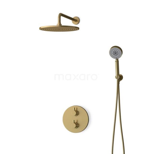Inbouw Regendoucheset Radius Gold, Thermostaatkraan, 30cm Hoofddouche, Goud BIG55-00115