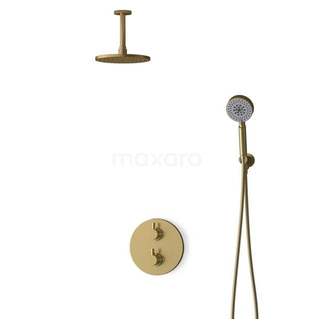 Inbouw Regendoucheset Radius Gold, Thermostaatkraan, 20cm Hoofddouche, Goud BIG55-00118