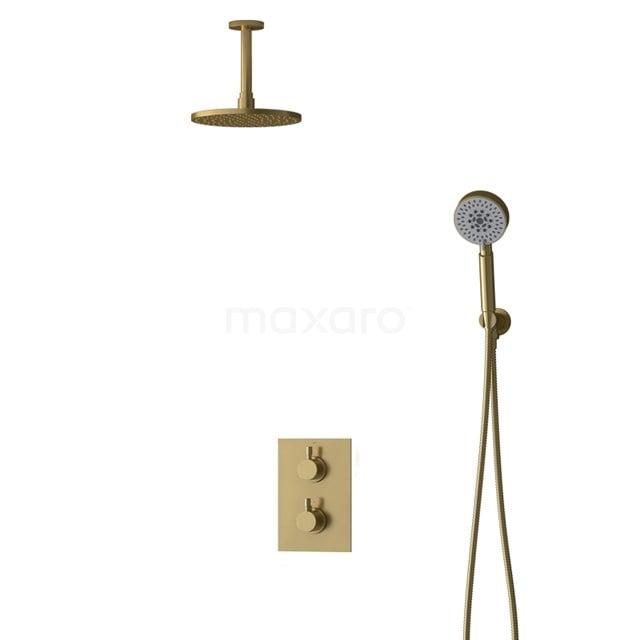 Inbouw Regendoucheset Radius Gold, Thermostaatkraan, 20cm Hoofddouche, Goud BIG55-00119