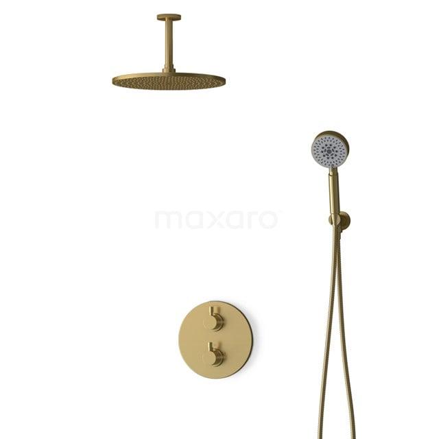 Inbouw Regendoucheset Radius Gold, Thermostaatkraan, 30cm Hoofddouche, Goud BIG55-00124