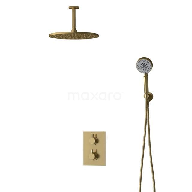 Inbouw Regendoucheset Radius Gold, Thermostaatkraan, 30cm Hoofddouche, Goud BIG55-00125