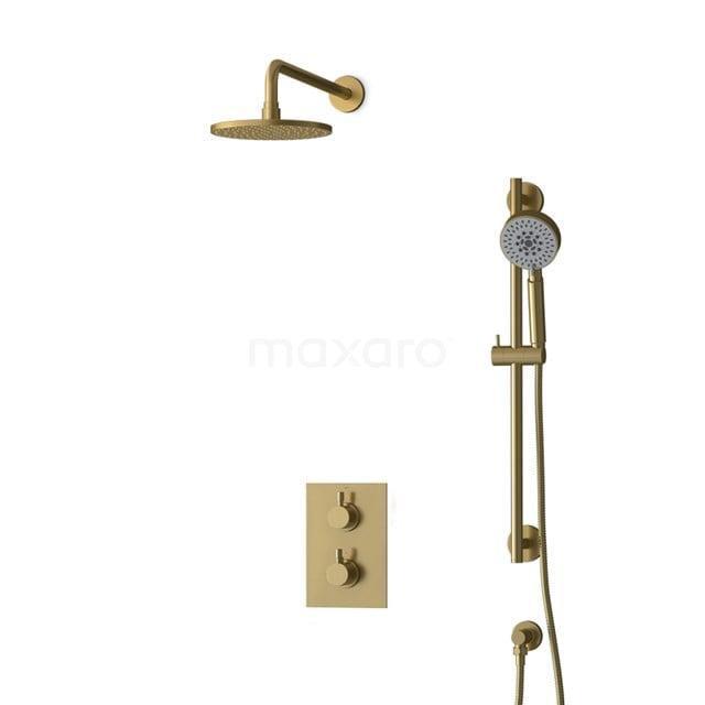 Inbouw Regendoucheset Radius Gold, Thermostaatkraan, 20cm Hoofddouche, Goud BIG55-00128