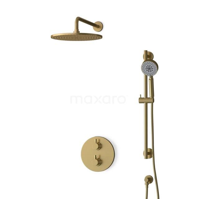 Inbouw Regendoucheset Radius Gold, Thermostaatkraan, 30cm Hoofddouche, Goud BIG55-00133