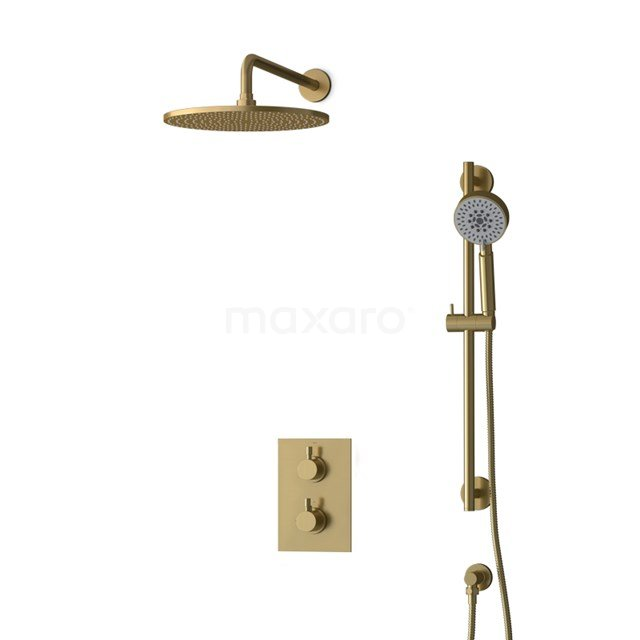 Inbouw Regendoucheset Radius Gold, Thermostaatkraan, 30cm Hoofddouche, Goud BIG55-00134