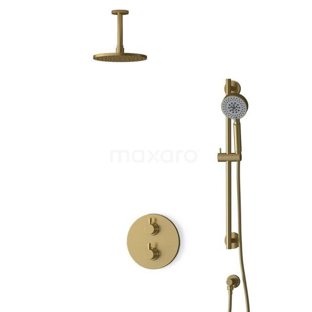 Inbouw Regendoucheset Radius Gold, Thermostaatkraan, 20cm Hoofddouche, Goud BIG55-00136