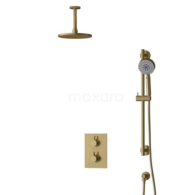 Inbouw Regendoucheset Radius Gold, Thermostaatkraan, 20cm Hoofddouche, Goud BIG55-00137