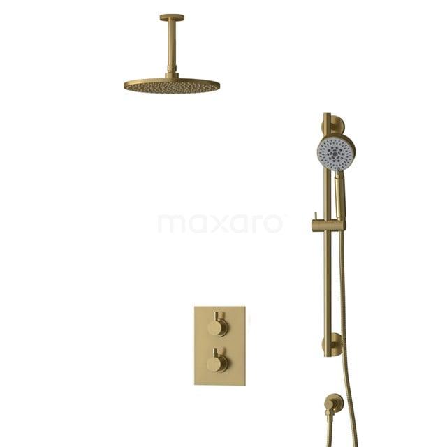 Inbouw Regendoucheset Radius Gold, Thermostaatkraan, 25cm Hoofddouche, Goud BIG55-00140