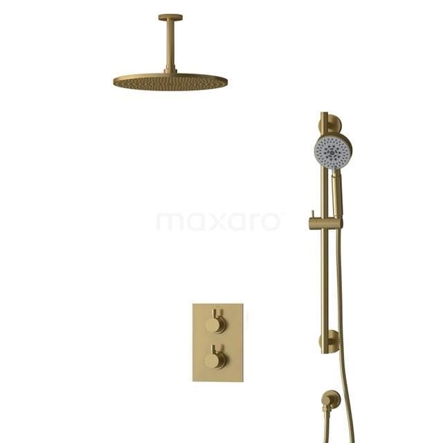 Inbouw Regendoucheset Radius Gold, Thermostaatkraan, 30cm Hoofddouche, Goud BIG55-00143