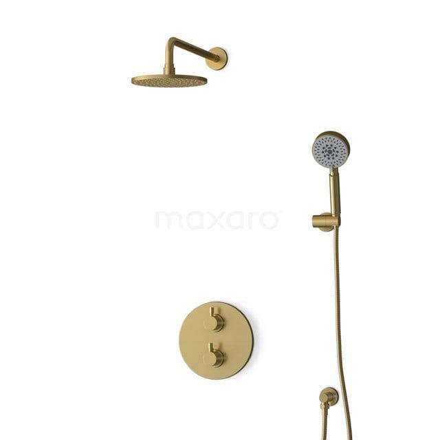 Inbouw Regendoucheset Radius Gold, Thermostaatkraan, 20cm Hoofddouche, Goud BIG55-00145