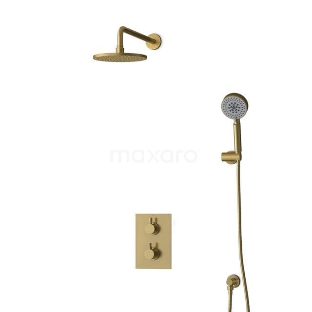 Inbouw Regendoucheset Radius Gold, Thermostaatkraan, 20cm Hoofddouche, Goud BIG55-00146