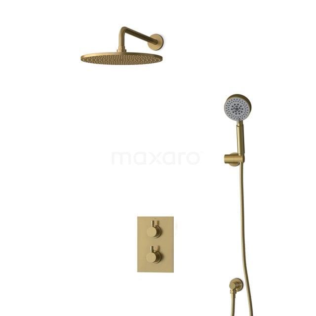 Inbouw Regendoucheset Radius Gold, Thermostaatkraan, 30cm Hoofddouche, Goud BIG55-00152